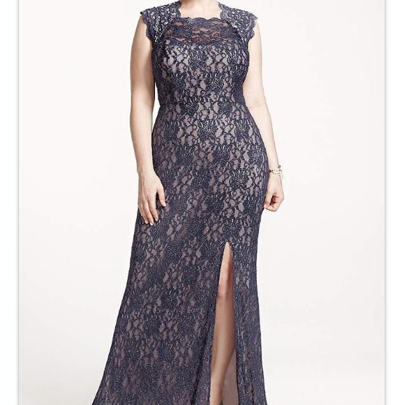 Davids Bridal Dresses Long Lace Cap Sleeve Plus Size Dress With